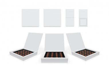 Square box with chocolates isolated on white background vector mock up icon
