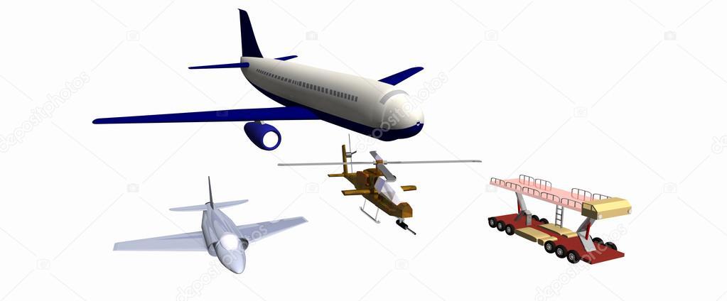 Dos De Combate Aviones Un Helicóptero De Combate Rastro Mecánico