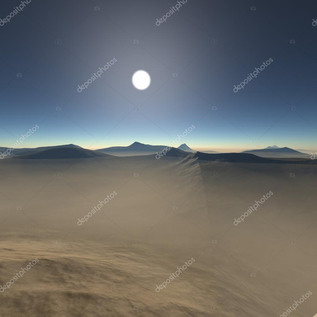 night desert with mountains