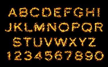 Fire font, alphabet of flame.