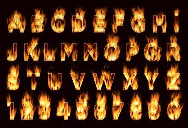 Fire font. Plum letters.  Font on fire.