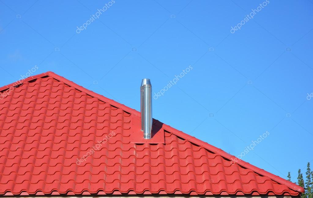 Nuevo rojo teja con exterior de metal chimenea casa techos for Techos de metal para casas