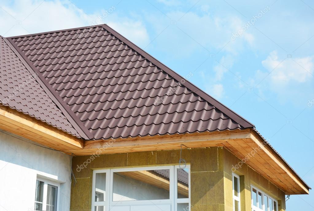 Dach Haus Und Steinwolle Dämmung Wanddetail Gebäude Wärmedämmung