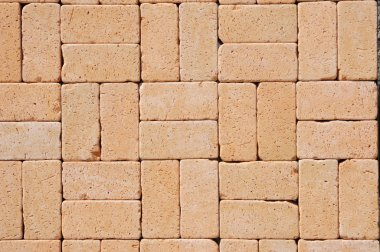 Beautiful German Ceramic Clinker Pavers for Patio. Floor pavers in a path, detail of a pavement to walk, textured background