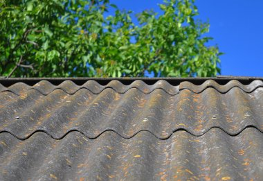 Blue sky over the dangerous asbestos old roof tiles able to use
