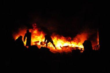 Street fights in Kyiv, Ukraine. Ukraine crisis. Fires of a Revolution.