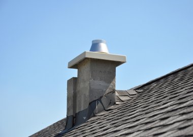 New modular ceramic chimney on the house roof. Thermocrete Chimney Linings. stock vector