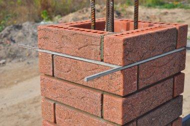 Lay bricks and blocks correctly.Closeup.