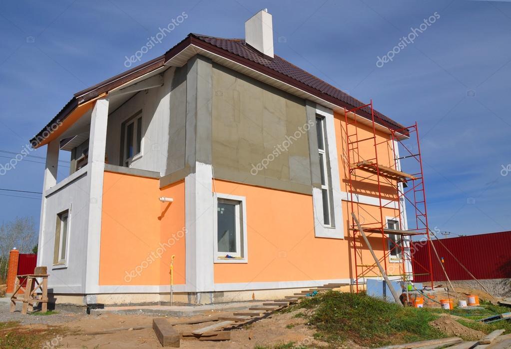 Bau Oder Reparatur Des Landlichen Hauses Mit Balcon Simse Windows