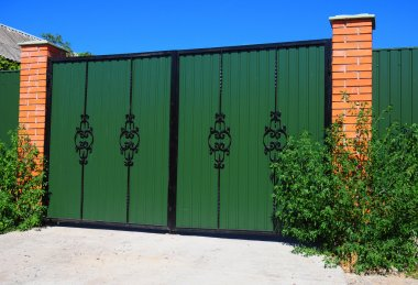 Green Metal Profil Gate with Decorative Gate and Door in Old Sti