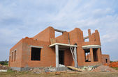 New  Building  Brick House Construction with Doorway Columns and
