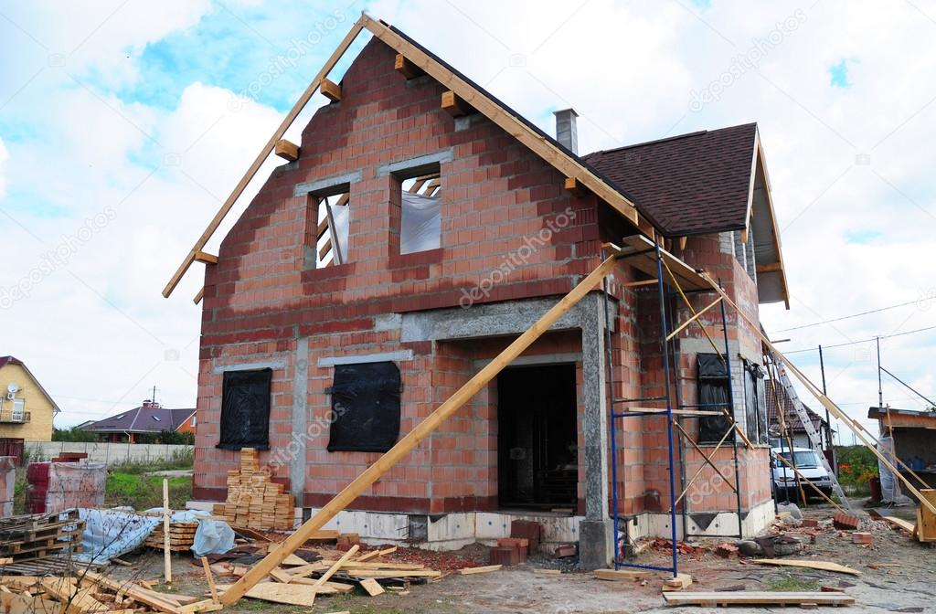 Roofing Construction And Building New Ceramic Bricks House With Modular  Chimney, Skylights, Attic,