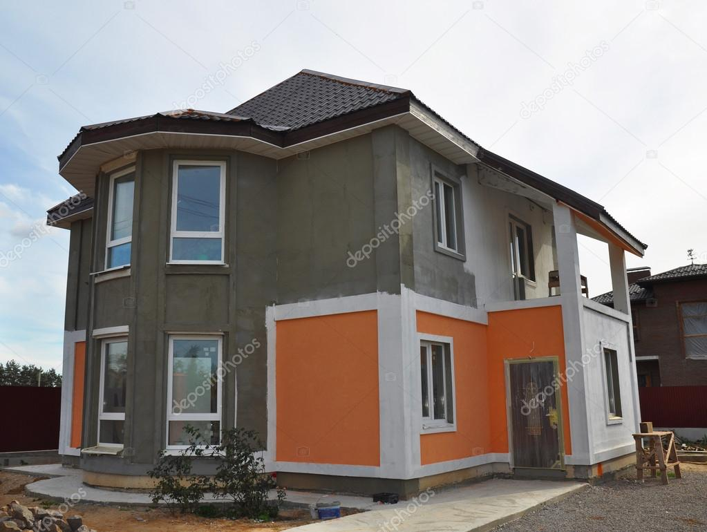 Painting And Plastering Exterior House Wall Facade Thermal Insulation And Painting Works During Exterior Renovations Stock Editorial Photo C Thefutureis 98965124