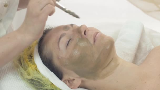Cosmetologist put mask from green clay on woman face by brush in beauty saloon