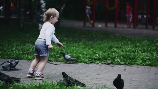 Blonde little boy running on playground in summer park. Childhood. Flying doves