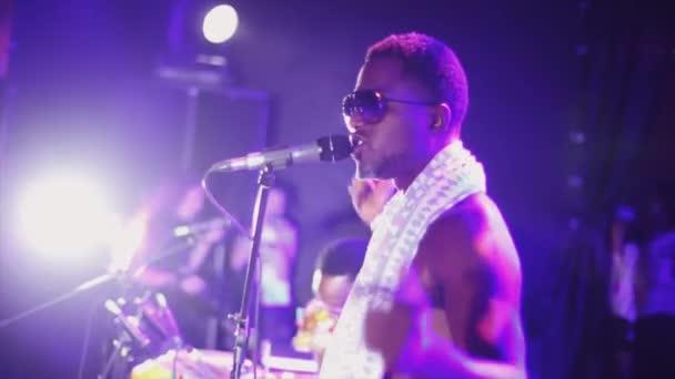 Dj singing at turntable