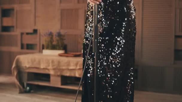 Jazz-Sänger in atemberaubenden Kleid und Saxophonist im Anzug führen ...