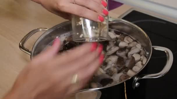 Žena ječmene zrna do kastrolku s houbová polévka
