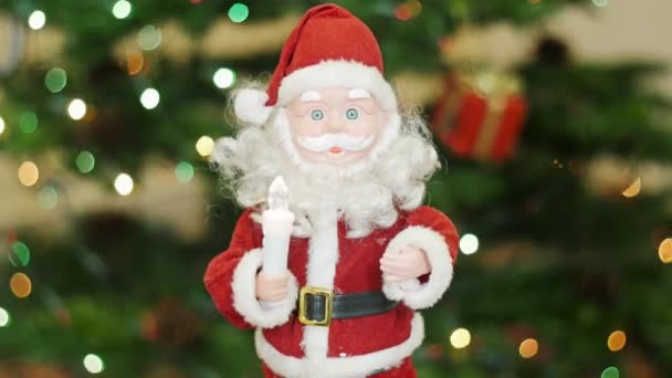Toy santa claus greetings at background bokeh stock video bazava toy santa claus greetings at background bokeh stock video m4hsunfo