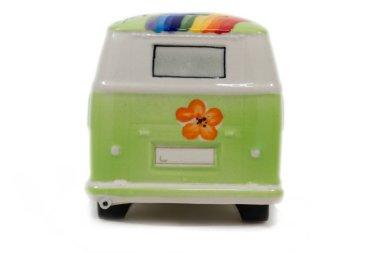 The hippy green vintage van on white background
