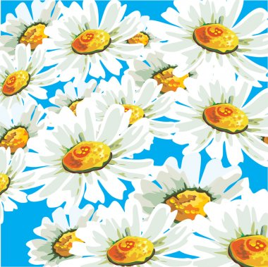 Vector seamless pattern with camomile flowers in pastel colors.