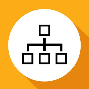 Network block diagram. Black outline flat icon