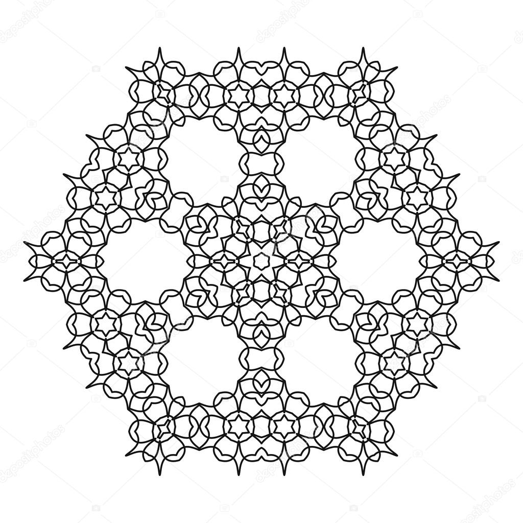 Round decorative geometric pattern. Lace circle design template ...