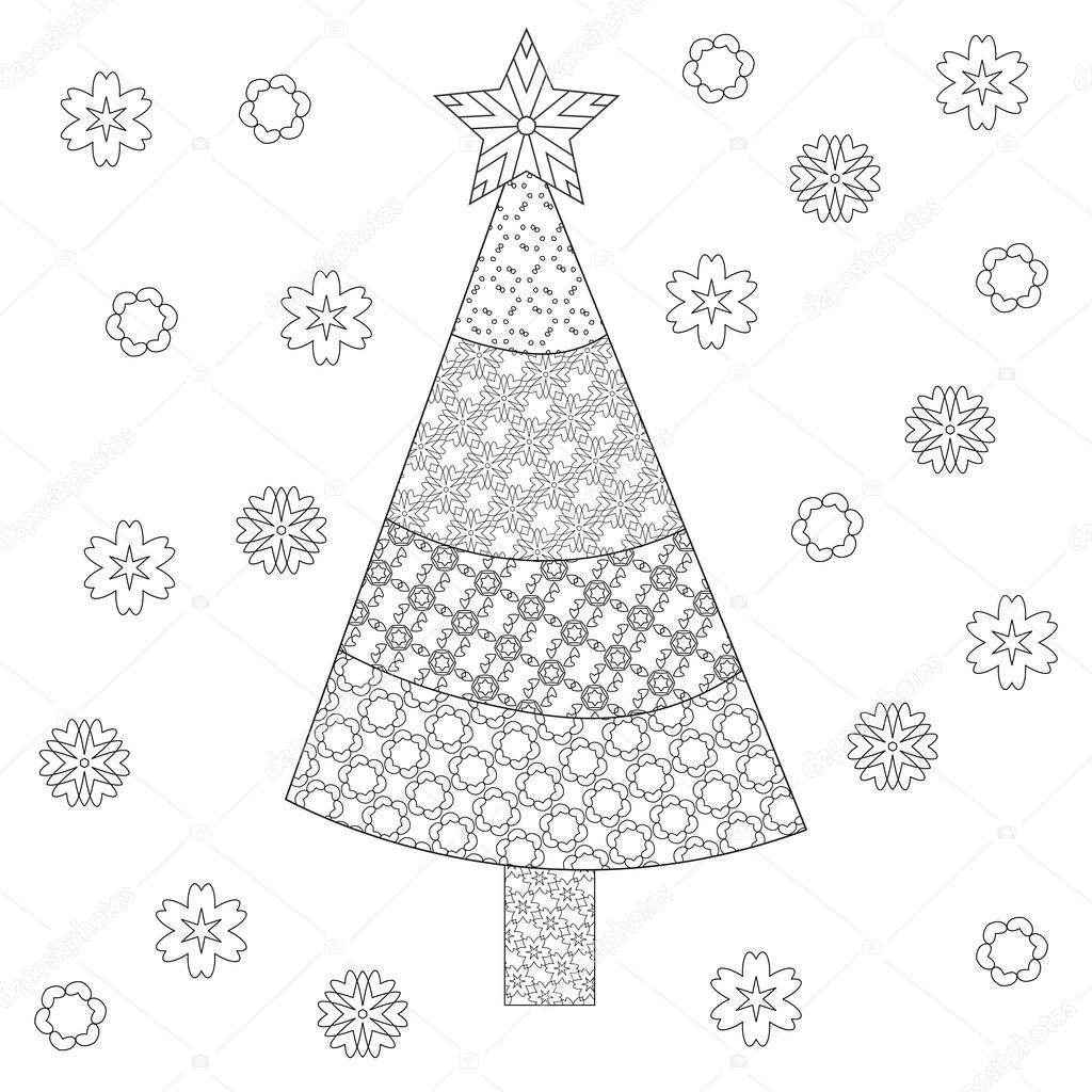 Decorative Ornamental Christmas Tree With Artistic Snowflakes And Star Zentangle Design Coloring Book Page
