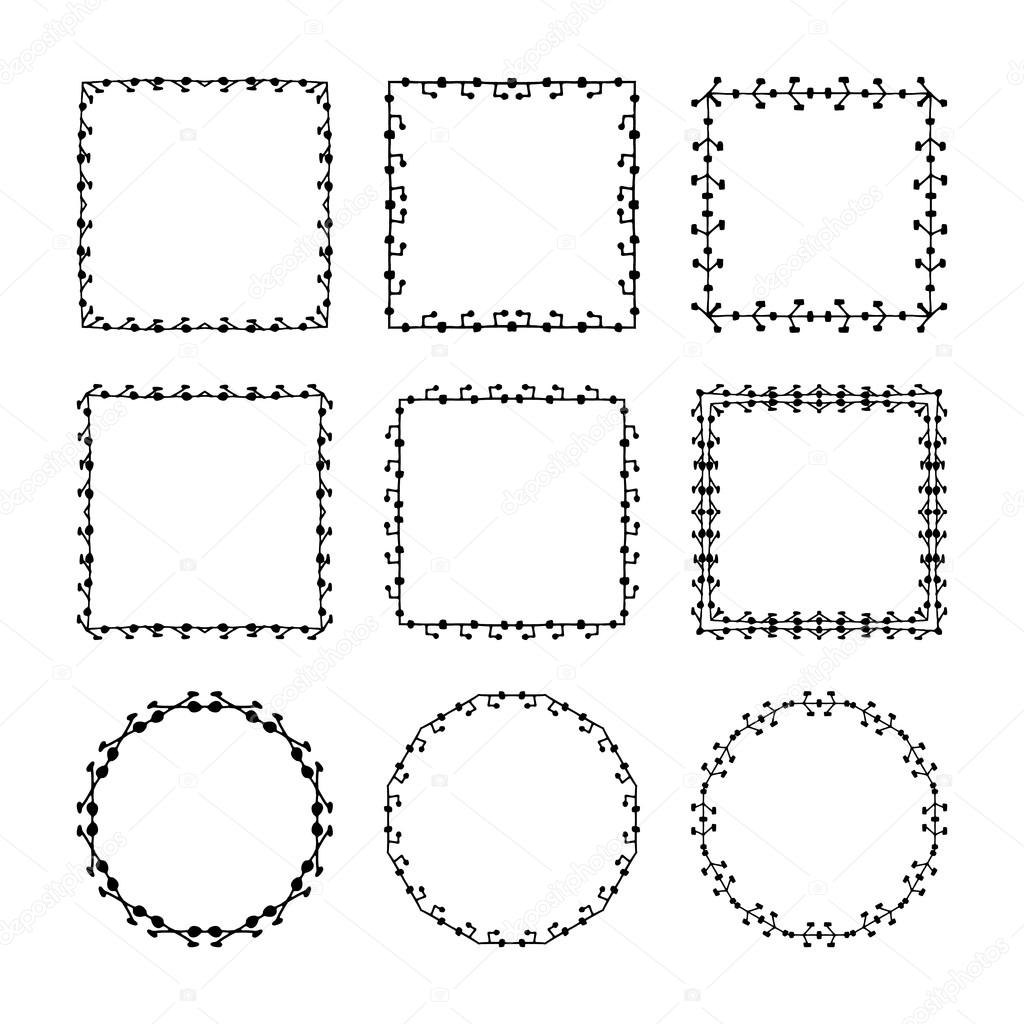 set of hand drawn doodle decorative frames and borders mono line