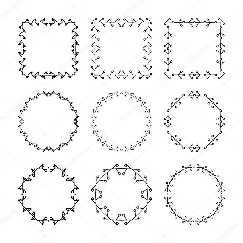 Set of hand drawn, doodle decorative frames and borders. Mono line ...