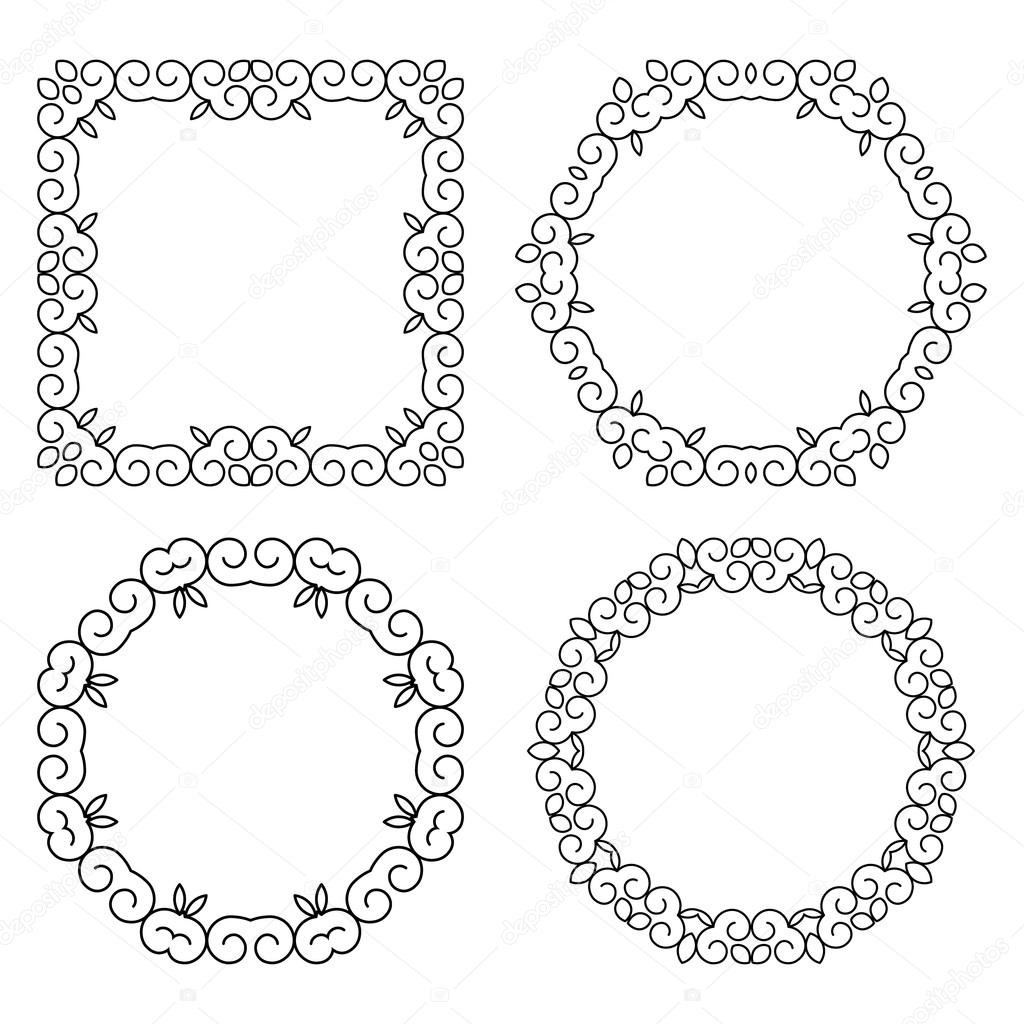 set of decorative frames and borders mono line design templates