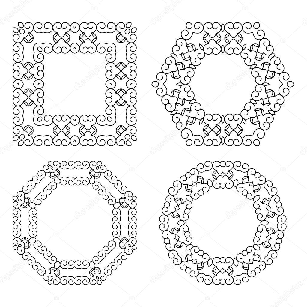 Satz von Zierleisten und Grenzen. Mono Line Design-Vorlagen ...