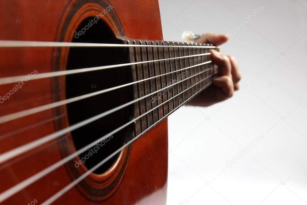 In The Chord Playing Classical Guitar Closeup Stock Photo