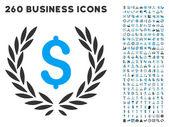A lapos vektor pénzügyi babérkoszorút Icon Set