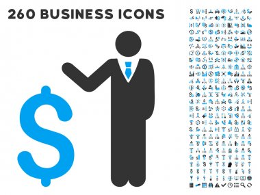 Banker Icon with Flat Vector Set