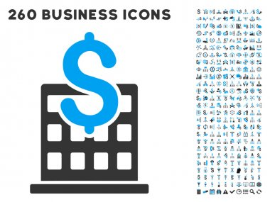 Financial Company Building Icon with Flat Vector Set