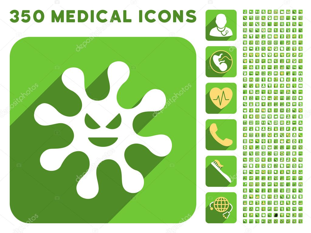Evil Bacteria Icon and Medical Longshadow Icon Set
