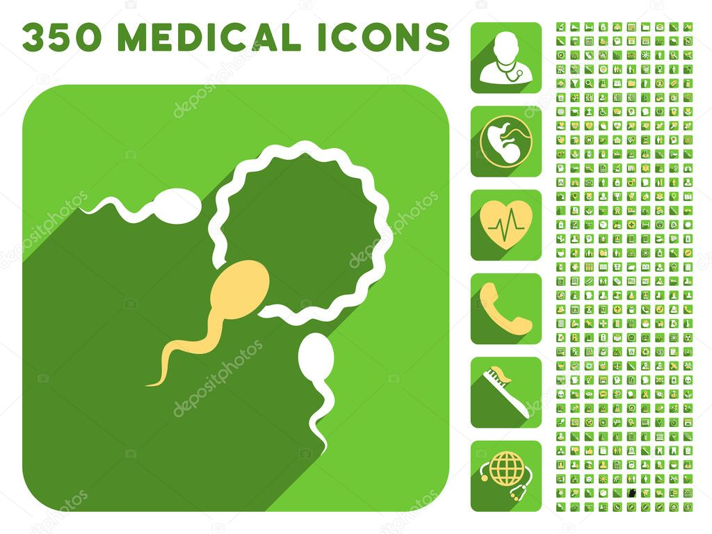 Fertilization Icon and Medical Longshadow Icon Set