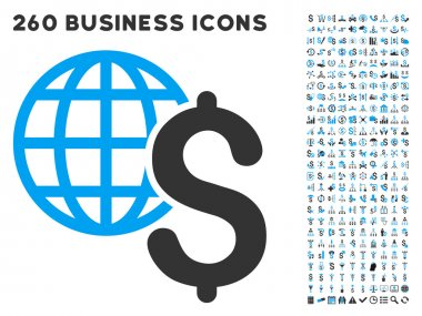 Global Economics Icon with Flat Vector Set