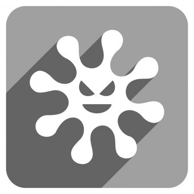 Evil Bacteria Flat Square Icon with Long Shadow