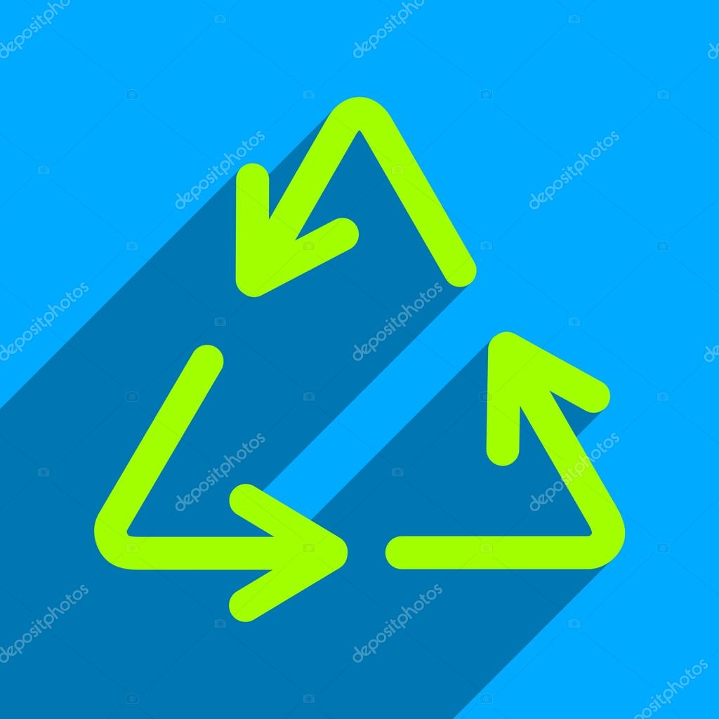 Recycle Arrows Flat Square Icon with Long Shadow