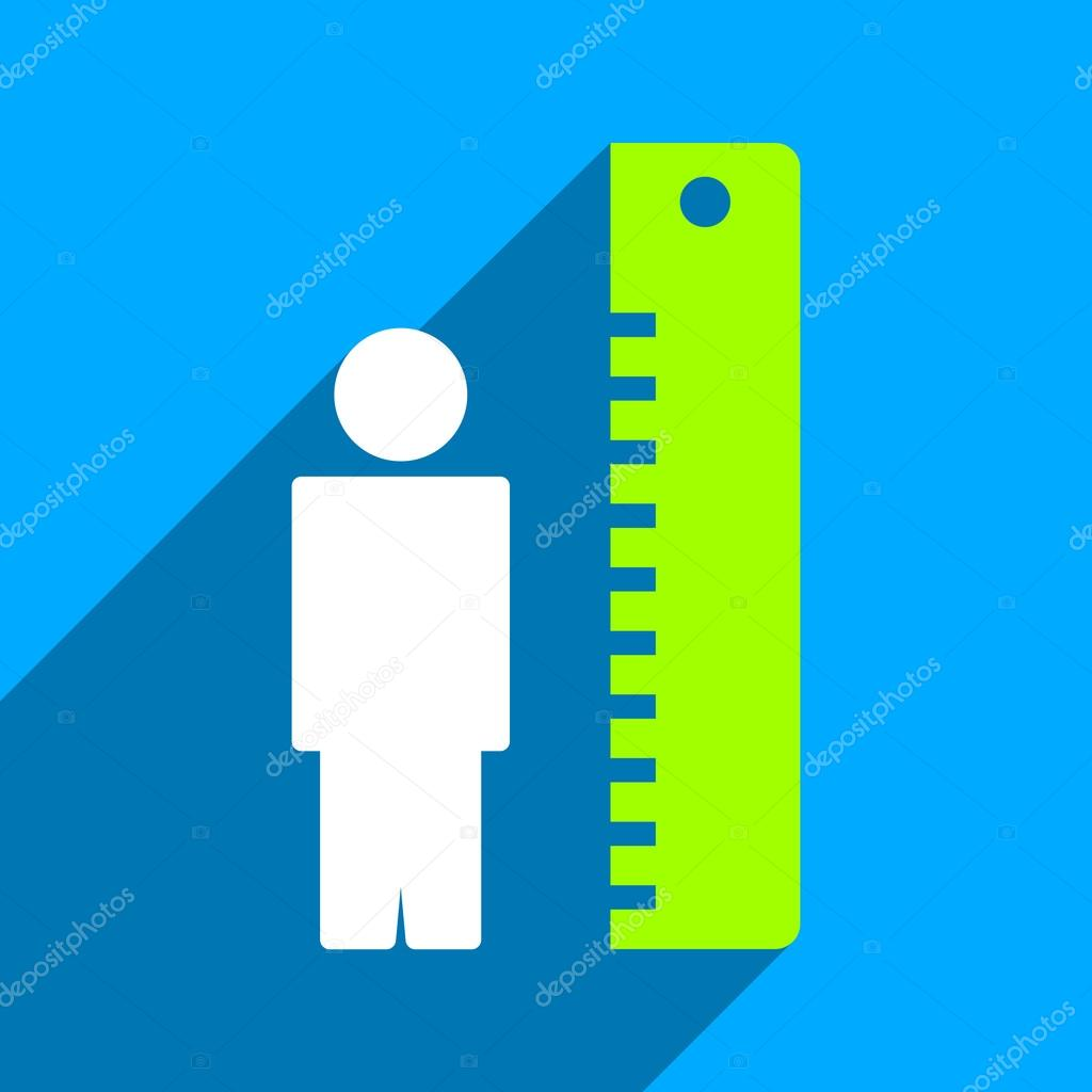 Man Height Meter Flat Square Icon with Long Shadow — Stock Vector ...