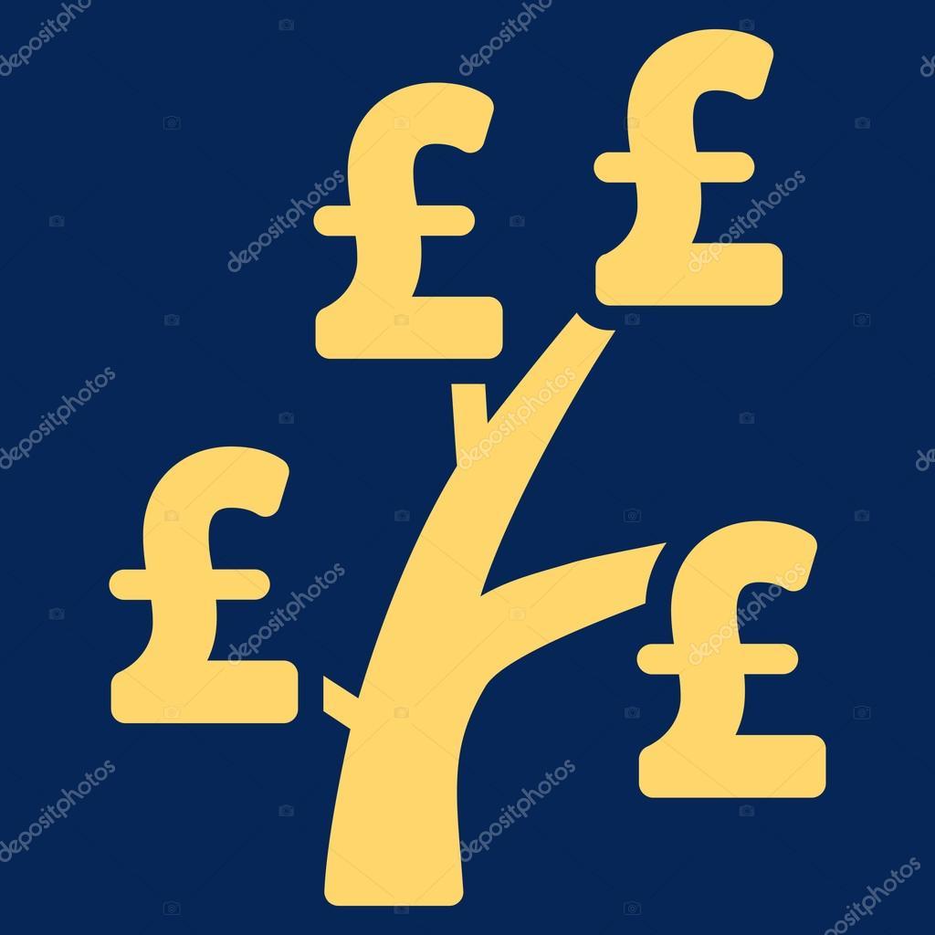Pound Money Tree Flat Vector Icon Symbol