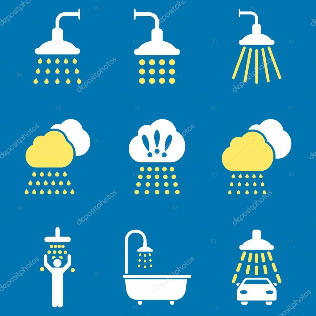 Shower Flat Vector Icon Set