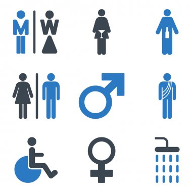 WC Gender Persons Flat Vector Icon Set