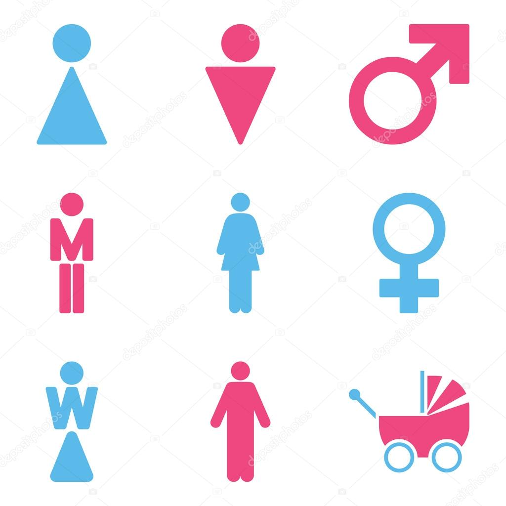 Wc Gender Symbols Flat Vector Icon Set Stockvektor Ahasoft