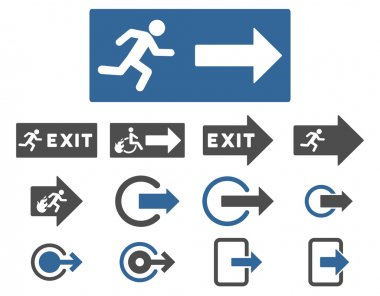 Fire Exit Flat Vector Icon Set