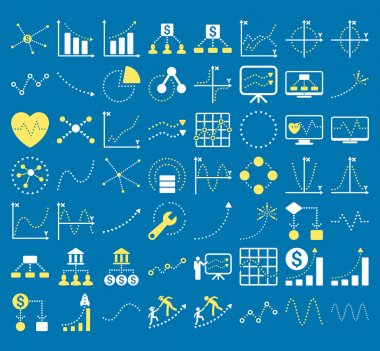 Business Charts With Triangle Dots Vector Icons