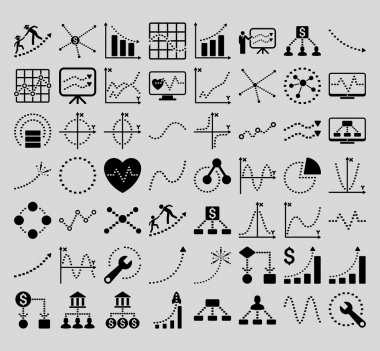 Business Charts With Rectangle Dots Vector Icons