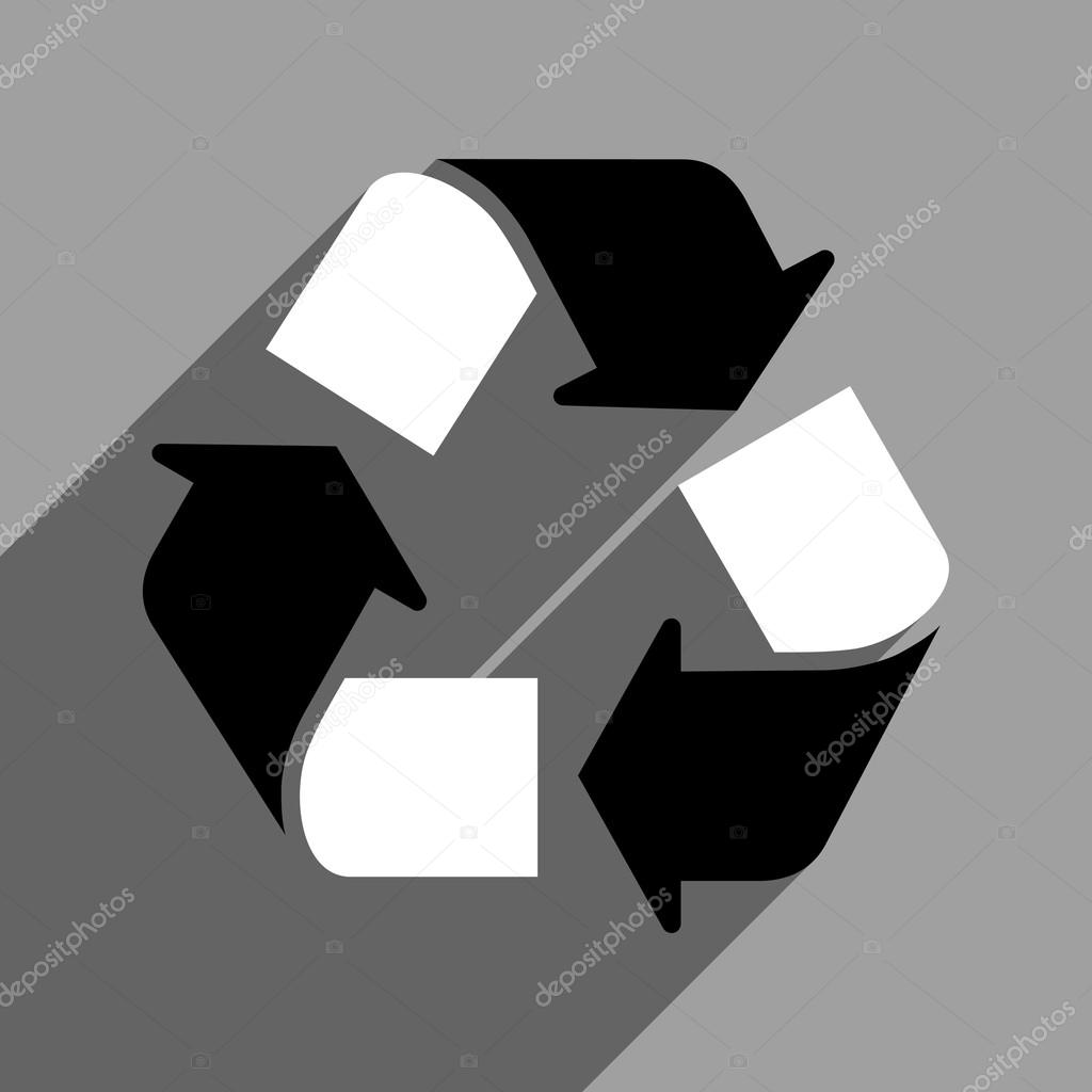 Recycle Flat Square Icon With Long Shadow